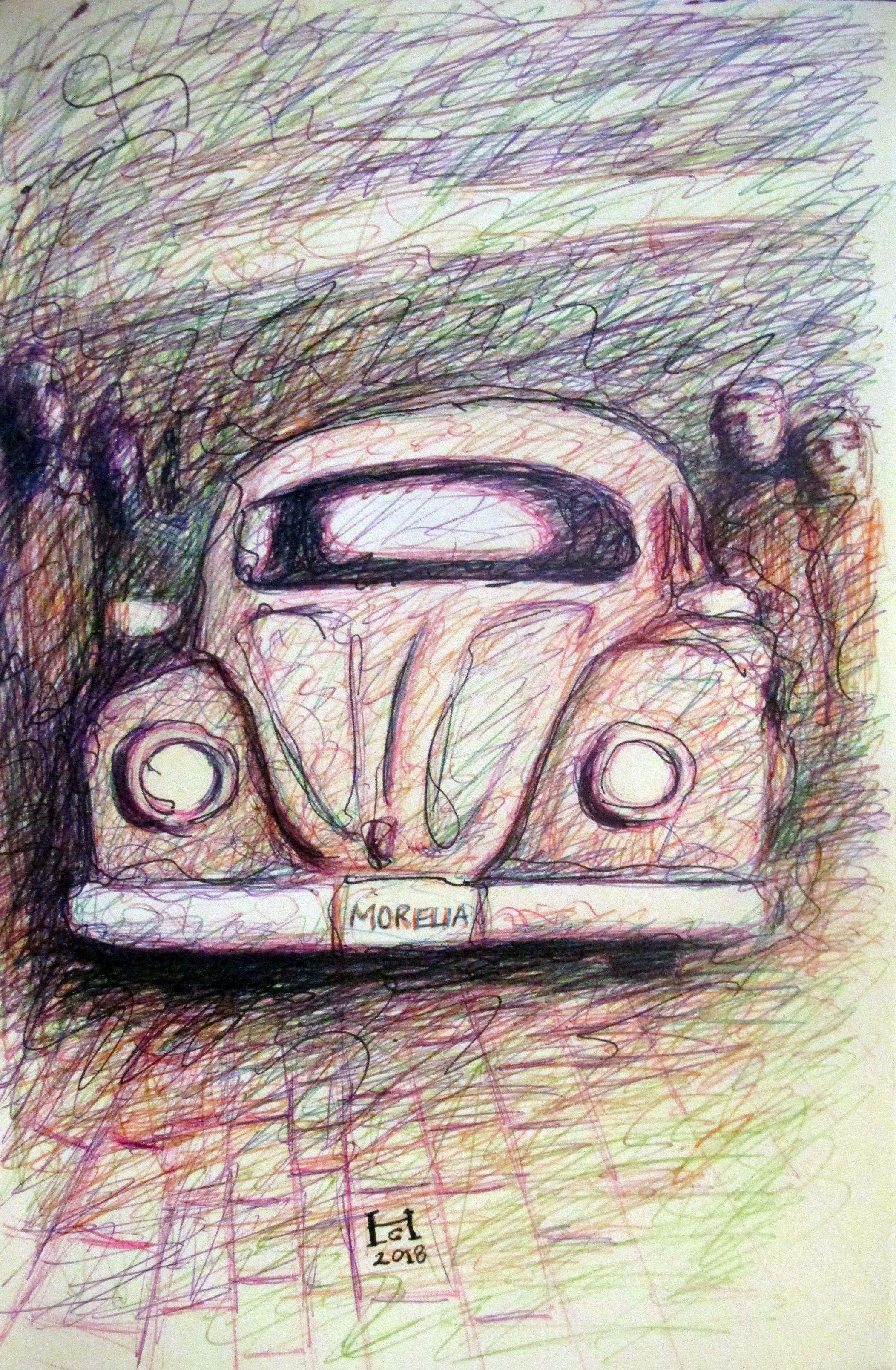 Un Dibujo De Un Bv Clasico Hecho Con Boligrafos De Colores Bv Clasic Car Beetle Boligrafos De Colores Dibujos A Lapicero Pintura Y Dibujo