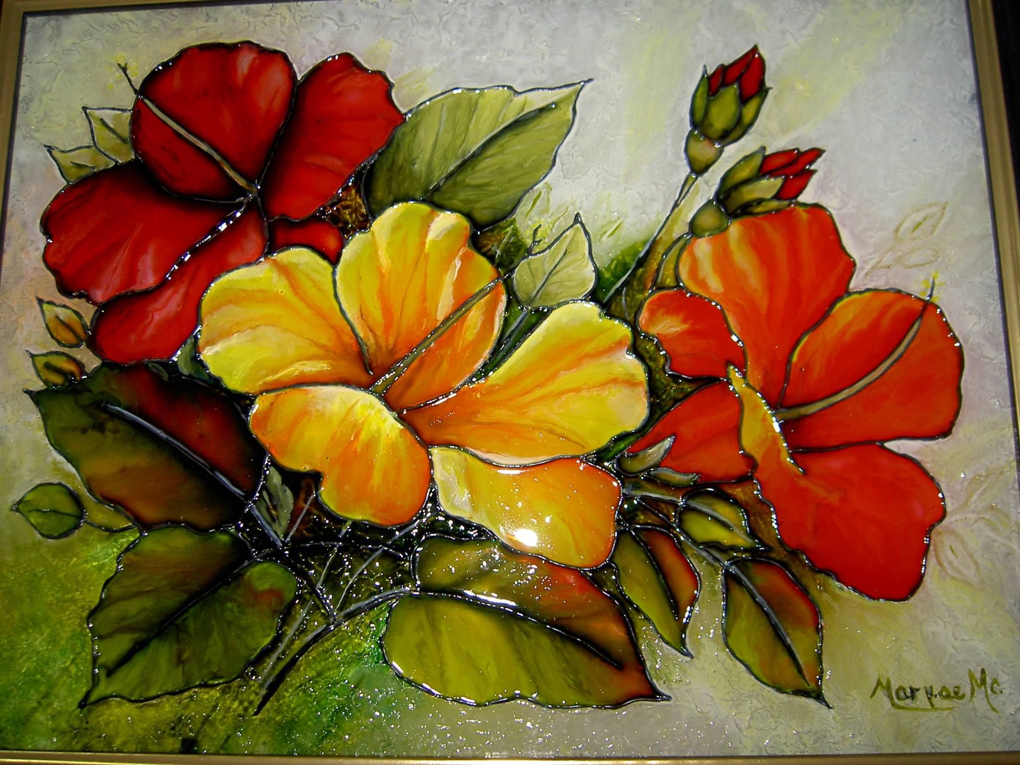 Jolis Hibiscus Peinture Glass Painting Designs Stained Glass