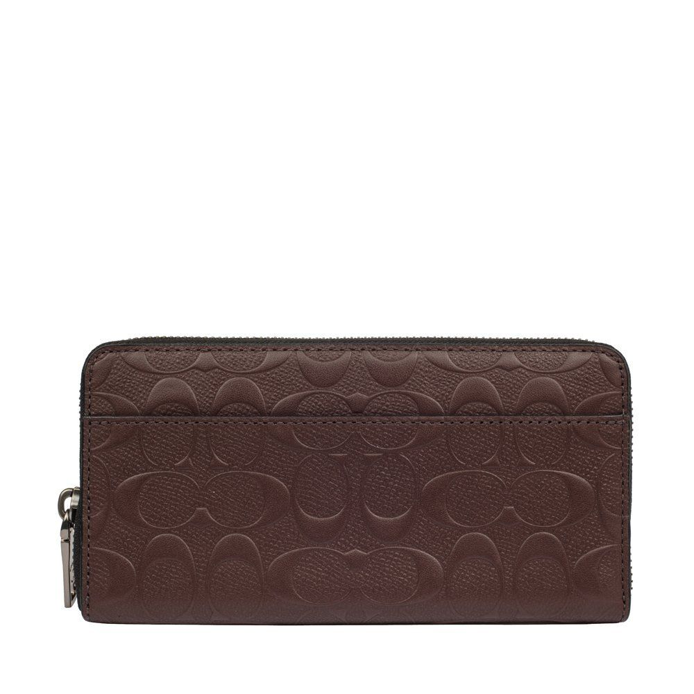 Coach signature accordion zip around wallet mahogany