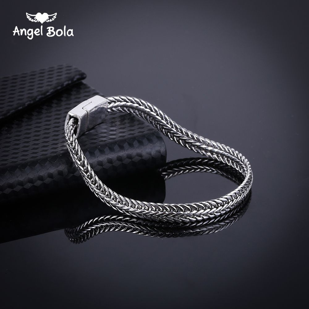 Fashion new link chain ancient silver bracelet women heavy mm wide