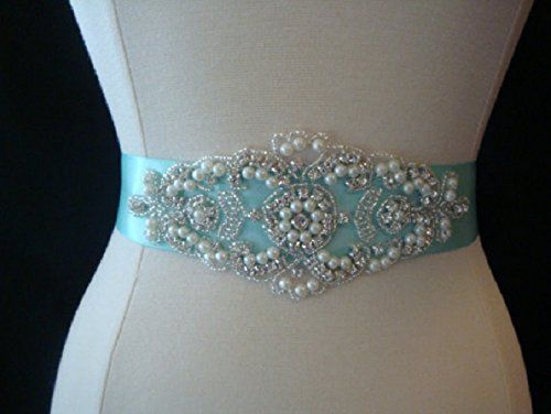 Bridal Sash  Wedding Dress Sash Belt  Aqua Blue Pearl and Rhinestone Sash  Aqua Rhinestone Bridal Sash >>> Want additional info? Click on the image.