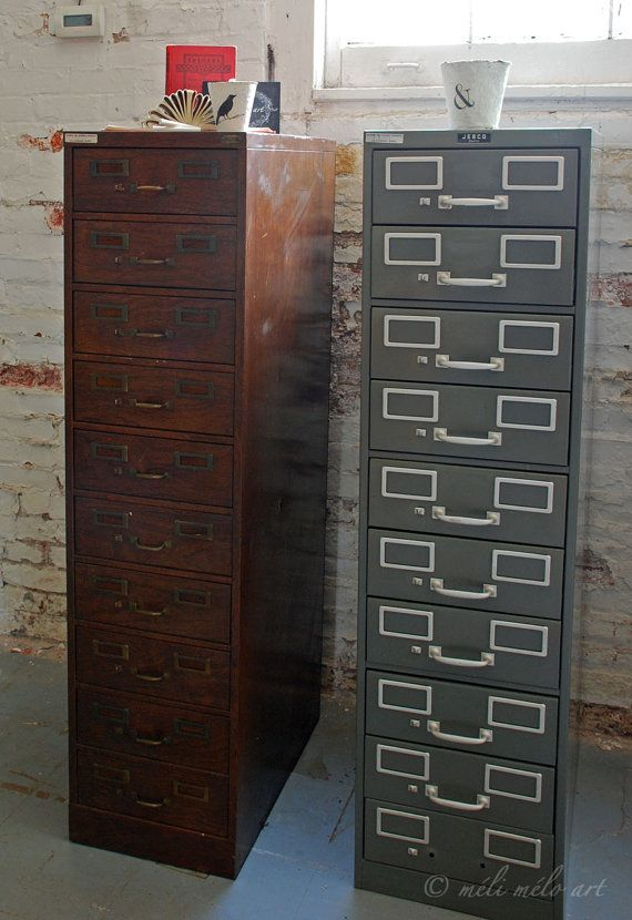 File Cabinet Metal Wood Grain