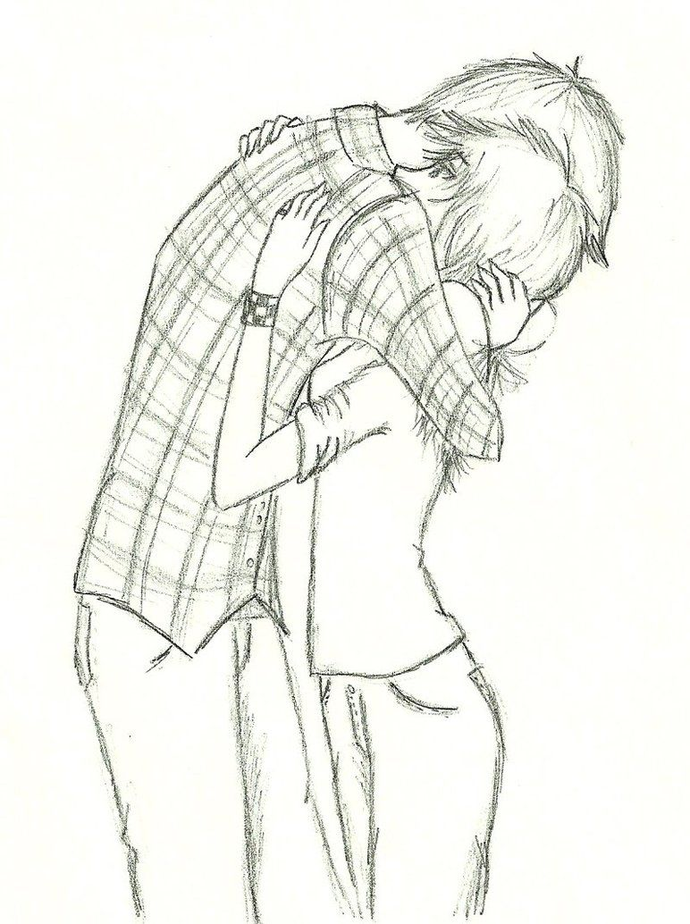 Draw Manga Cute Couple With Hug In Pencil And Shade It