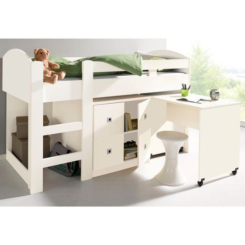 lit mezzanine 1 personne bureau rangements blanc. Black Bedroom Furniture Sets. Home Design Ideas