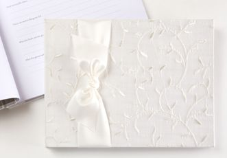 White Leaf Silk Wedding Memory Book