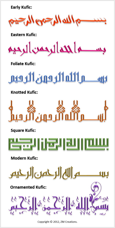 Kufic Calligraphy Variations Bismillah Islamic