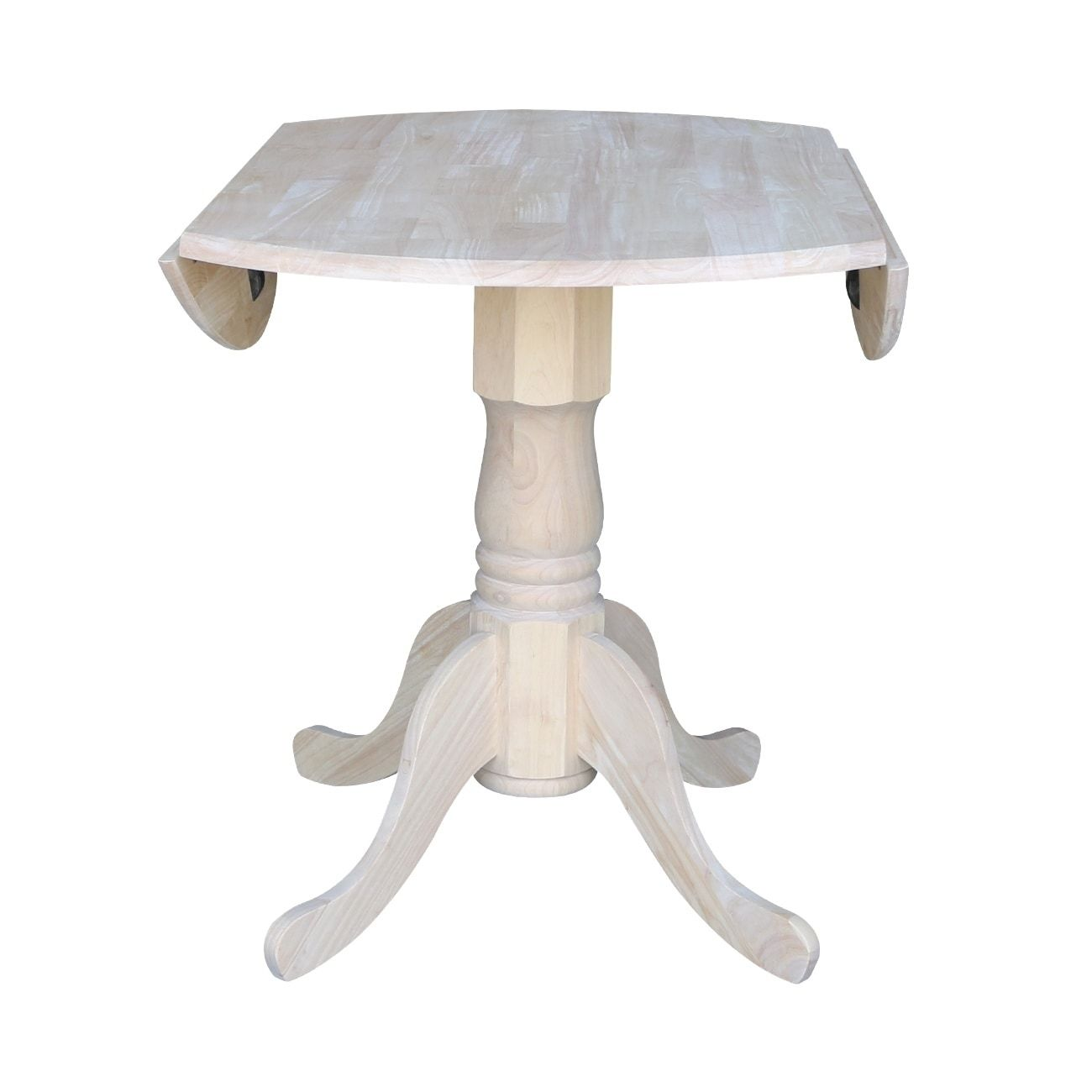 International Concepts Unfinished Round 36 Inch Dual Drop Leaf