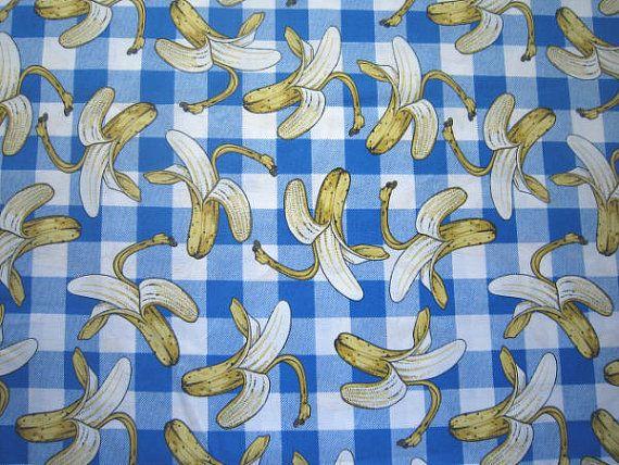 Joe Boxer Banana Fabric  Slip No Plaid  1993  by SewMeNowFabrics, $6.00