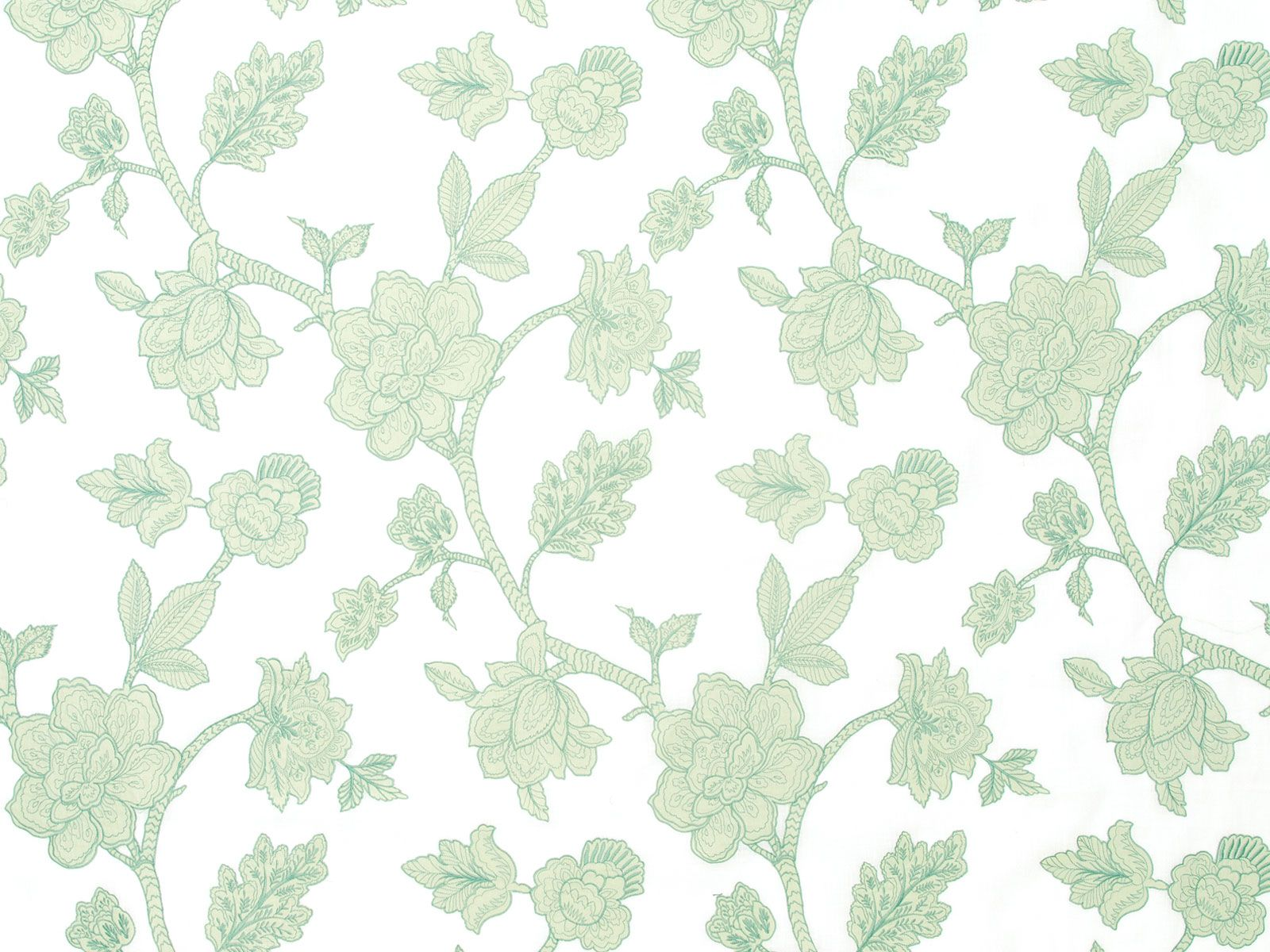 |MUSTIQUE - Aqua Mist A Jacobean floral design. Detailed with precision hand cutting, appliqued on a light linen piece dyed ground. Meticulous stitchery gives dimension to the floral motifs. Beautiful hand and drape. For window and bedding applications.Zimmer + Rohde