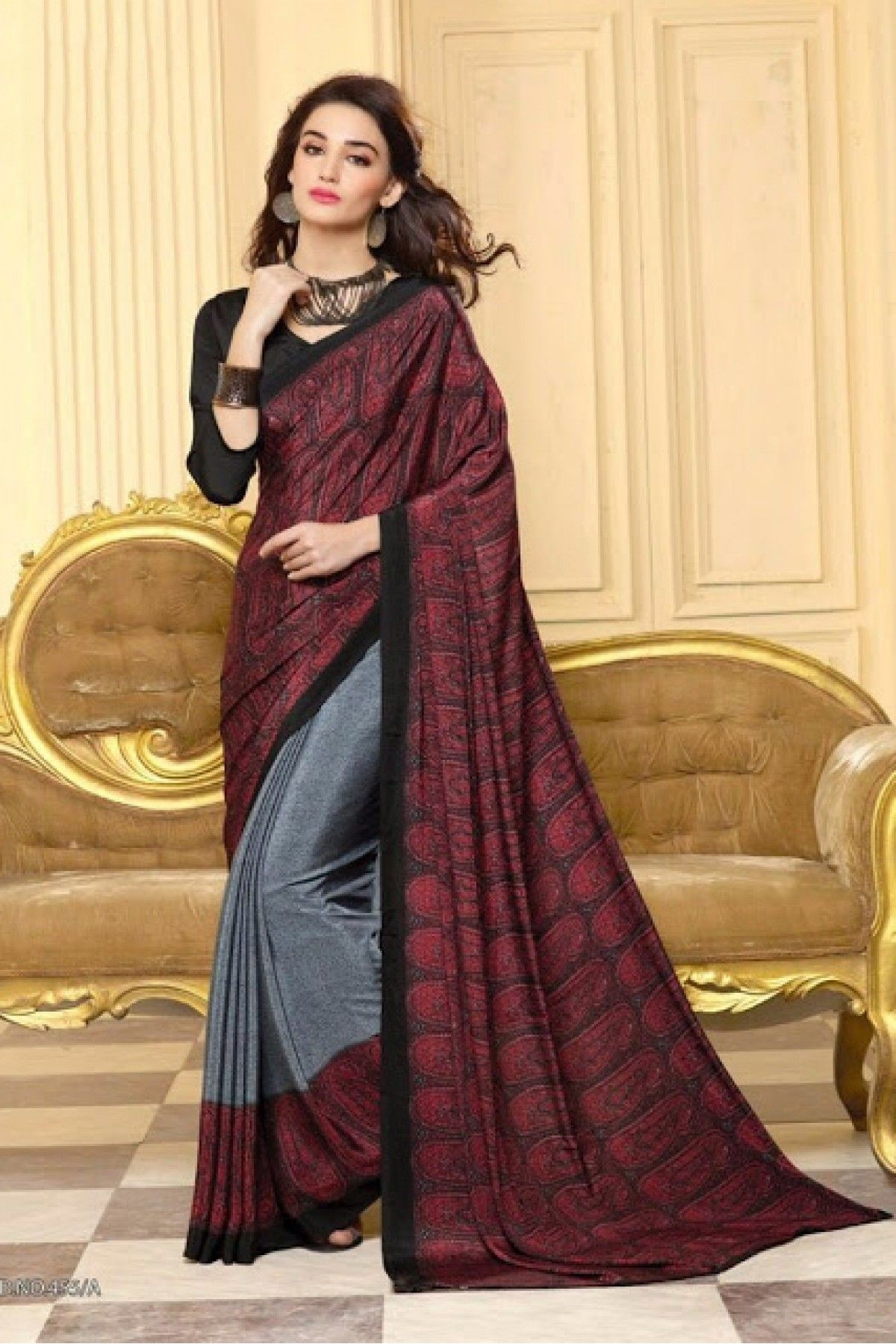 b3447798de8935 Grey and Brown Colour Crepe Silk Fabric Printed Saree Comes With Matching  Blouse. This Saree