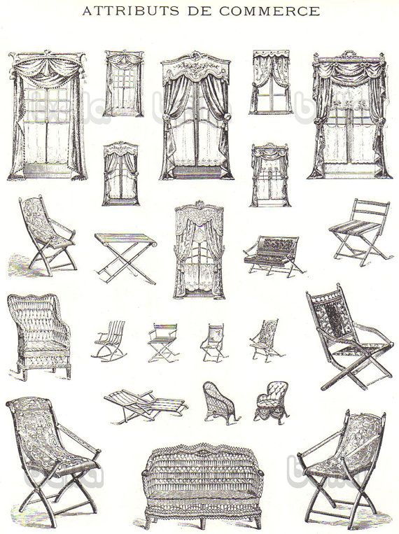 Vintage French Furniture Book Illustrations of Chairs Beds