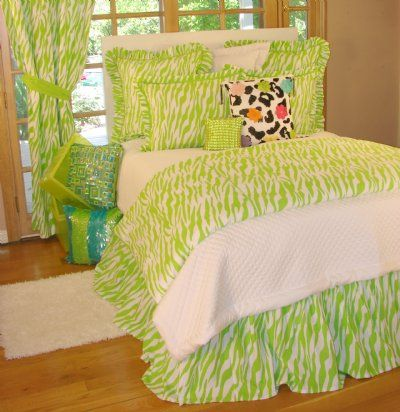 Tween/Teen Bedding | Outrageous Lime Green Zebra Bedding Collection - Sweet and Sour Kids