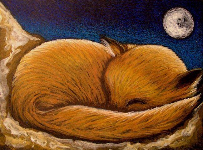 Sleeping Baby Fox Cartoon