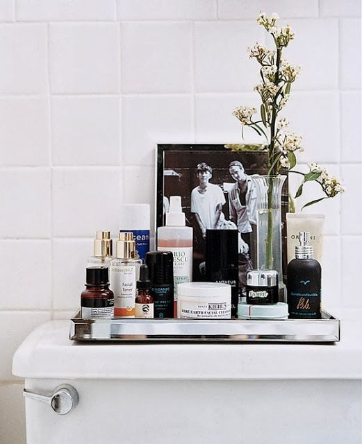 tray with products in bathroom
