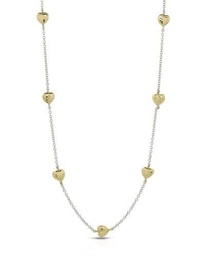 Millana Made In Italy Brand New Heart Necklace 14k Two Tone Gold Total Item Weight 17 4g Length 35in