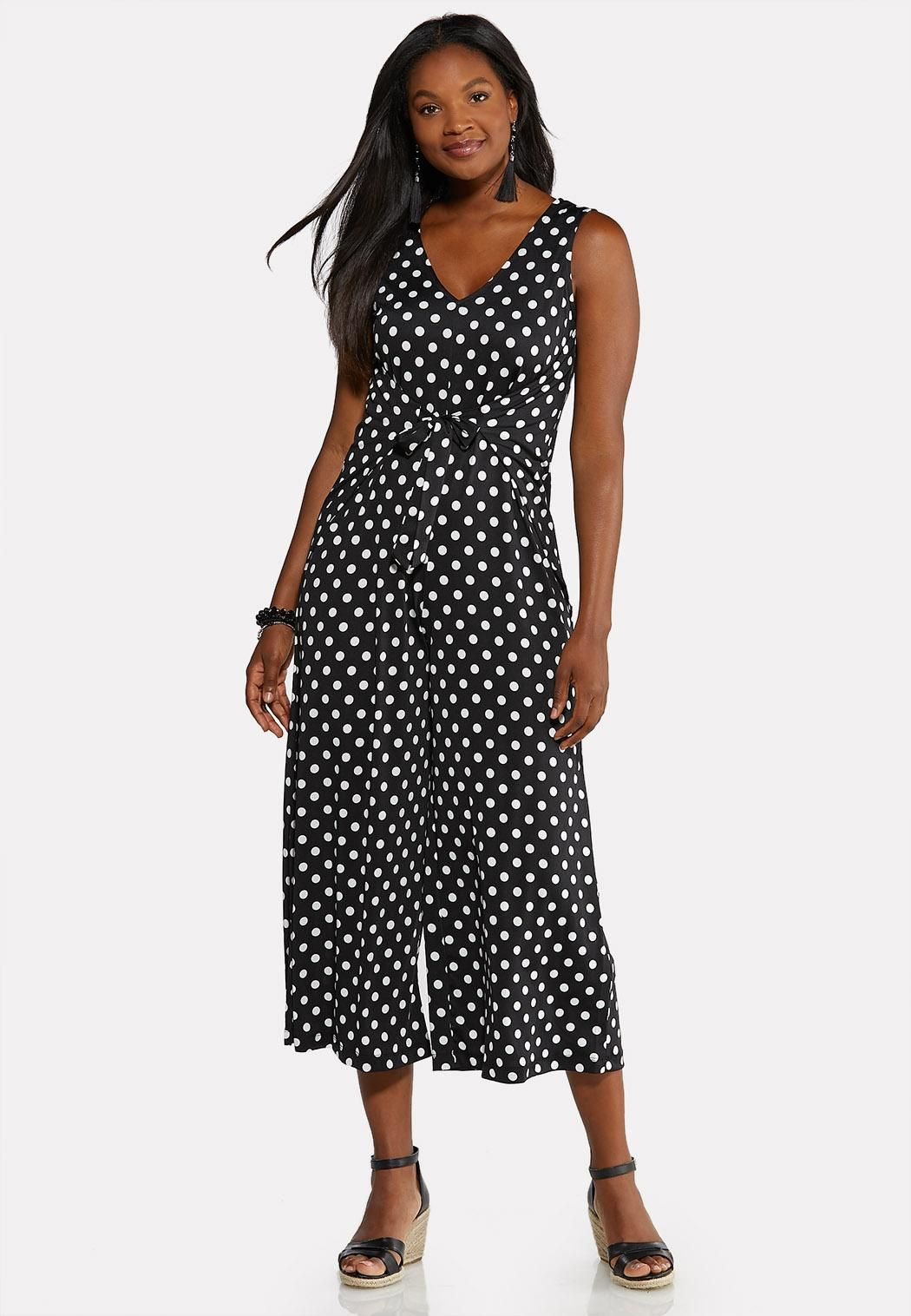 6bff52bcbd9 Polka Dot Cropped Jumpsuit Dresses Cato Fashions in 2019