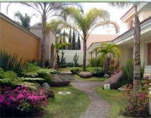 Jardin Para Casas Grandes Jardin Con Palmeras Diseno De Jardin Jardines