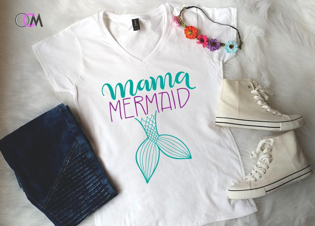 Mama Mermaid Shirt Of The Party Family Shirts Vneck