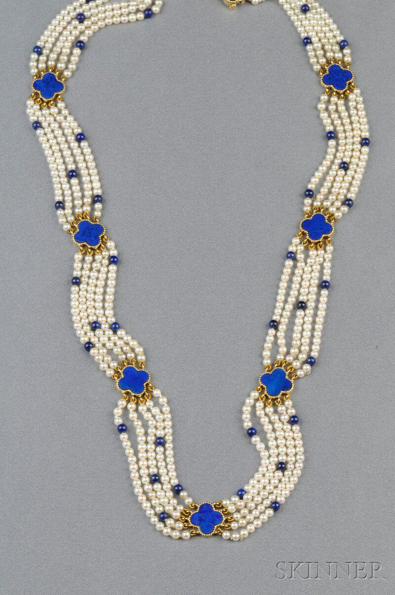 Kt gold lapis and cultured pearl necklace van cleef u arpels