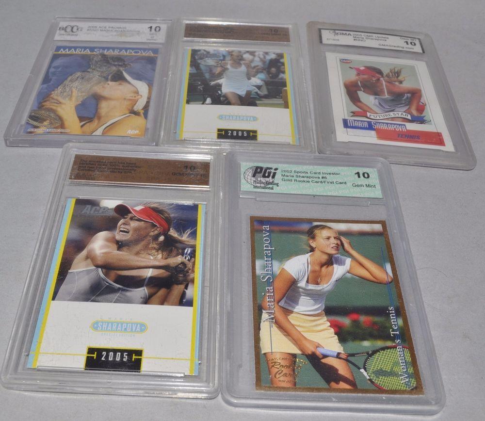 Maria Sharapova Tennis Cards, Lot of 5, Assorted
