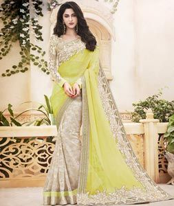 Buy Yellow Chiffon Half and Half Saree With Blouse 76826 with blouse online at lowest price from vast collection of sarees at Indianclothstore.com.