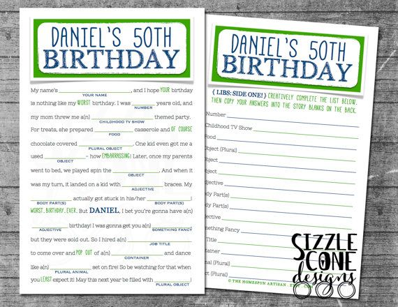 Birthday Mad Libs Game