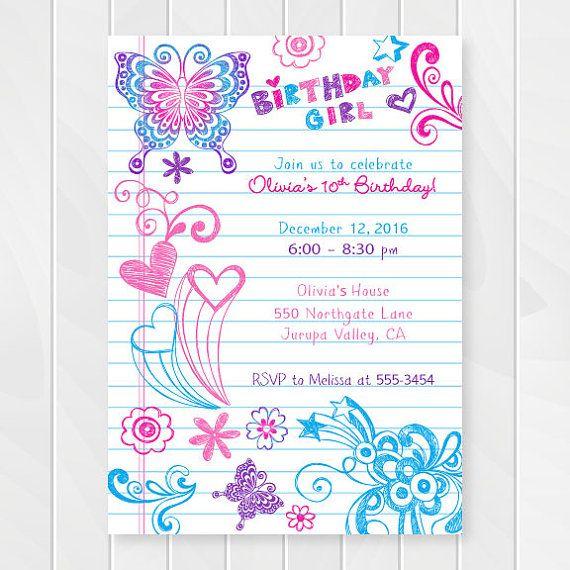 Notebook Doodles Tween Birthday Invitation Girl Birthday Etsy In 2021 Free Printable Birthday Invitations Printable Birthday Invitations Girl Birthday Party Invitations