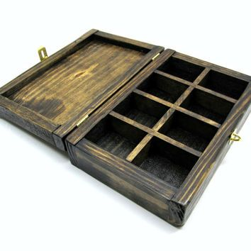Natural Pallet Wood Jewelry Box with Compartments and Brass Hardware