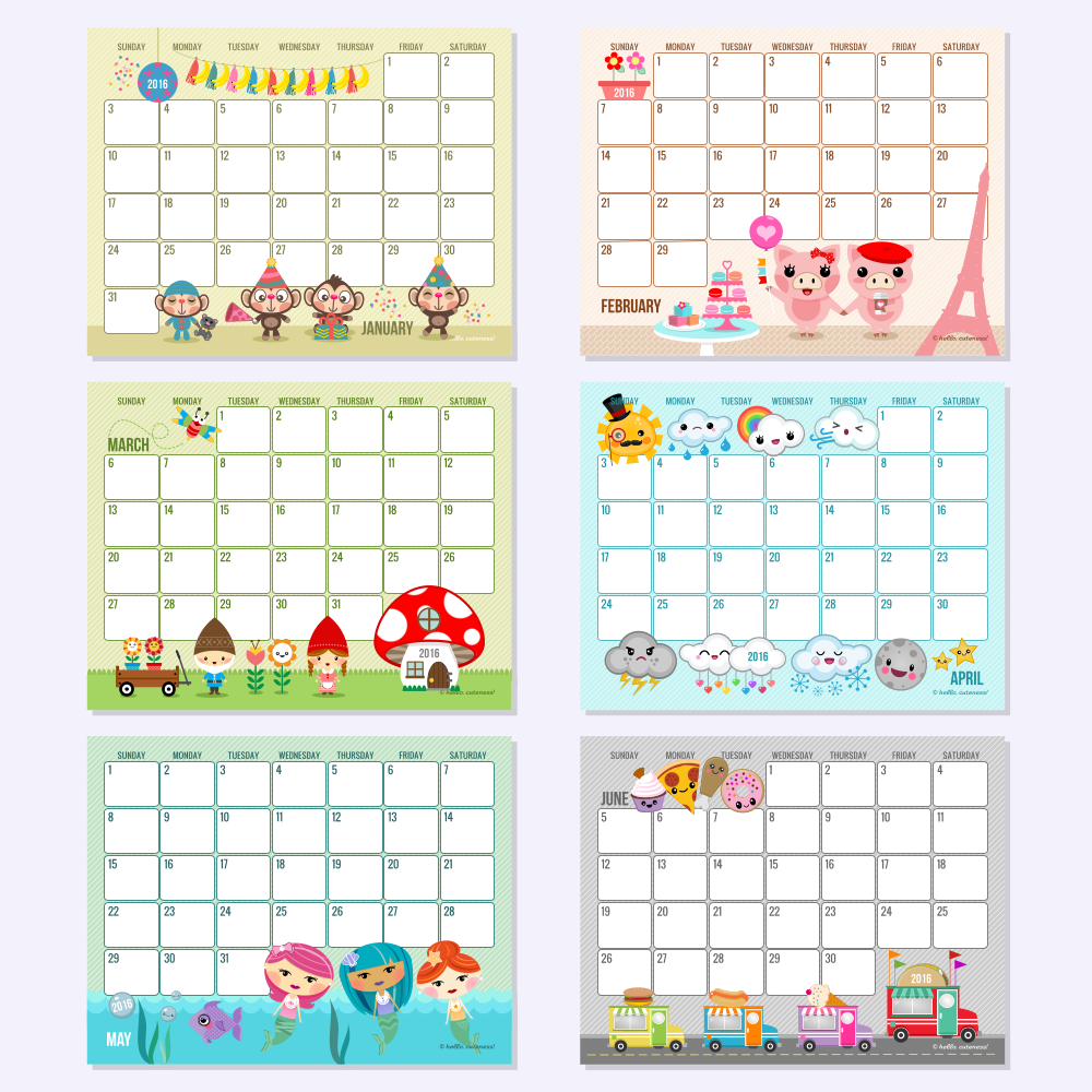 Calendar Monthly Themes : Instant download editable text full month