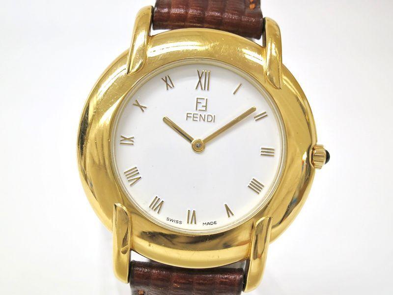 #Fendi #Wristwatch GP Leather White Combi Brown Mens(BF045908) - Now: $103