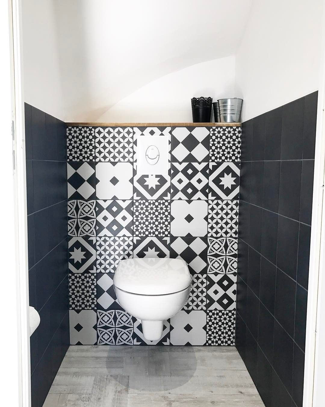 Cocooning Home Cocooninghome Sur Instagram Je Ne Vous Avais Pas Montre Nos Petits Wc J Ai Reussi A Toilet Design Wc Design Wall Cladding