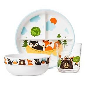 Woodland Animals 3 Piece Childrens Melamine Dinner Set Nursing & Feeding