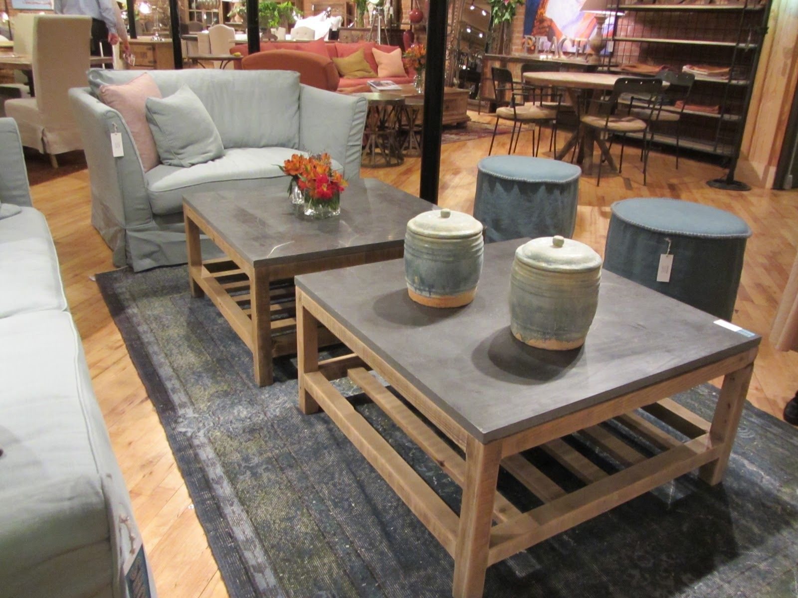 concrete and wood top coffee table Google Search
