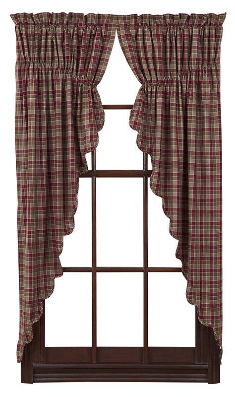 "Everson Lined Scalloped Prairie Curtain 36"" x 63"" x 18"""