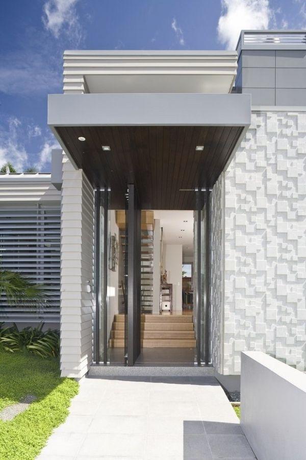 modern house facade design front door glass swing door   Home