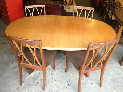 G Plan Teak Oval Extending Dining Table and 4 x Chairs Retro Vintage in  Table &