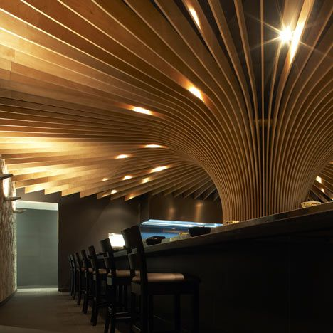 A louvred timber canopy fans up from the centre of this restaurant near Sydney by Australian & A louvred timber canopy fans up from the centre of this restaurant ...