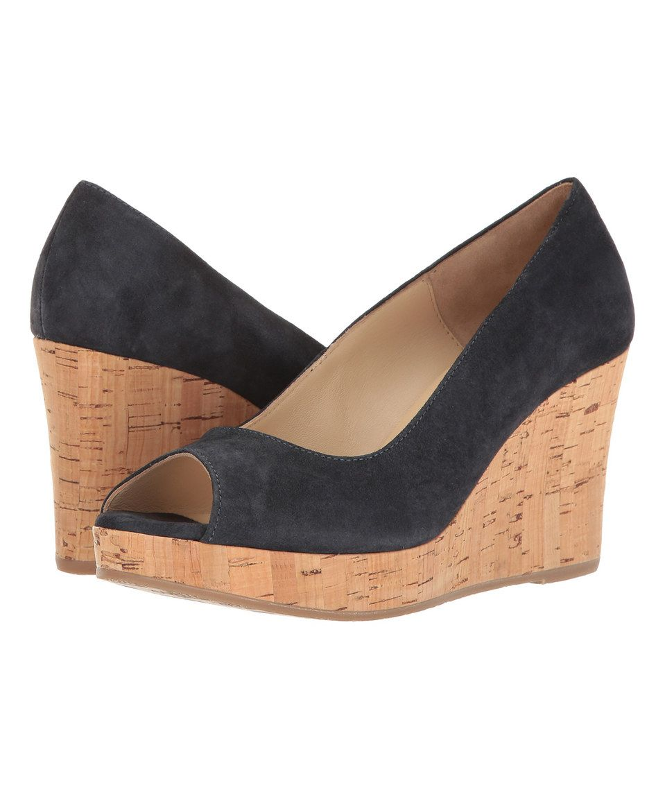 Take a look at this Cordani Navy Rayner Suede Peep-Toe Wedge today!