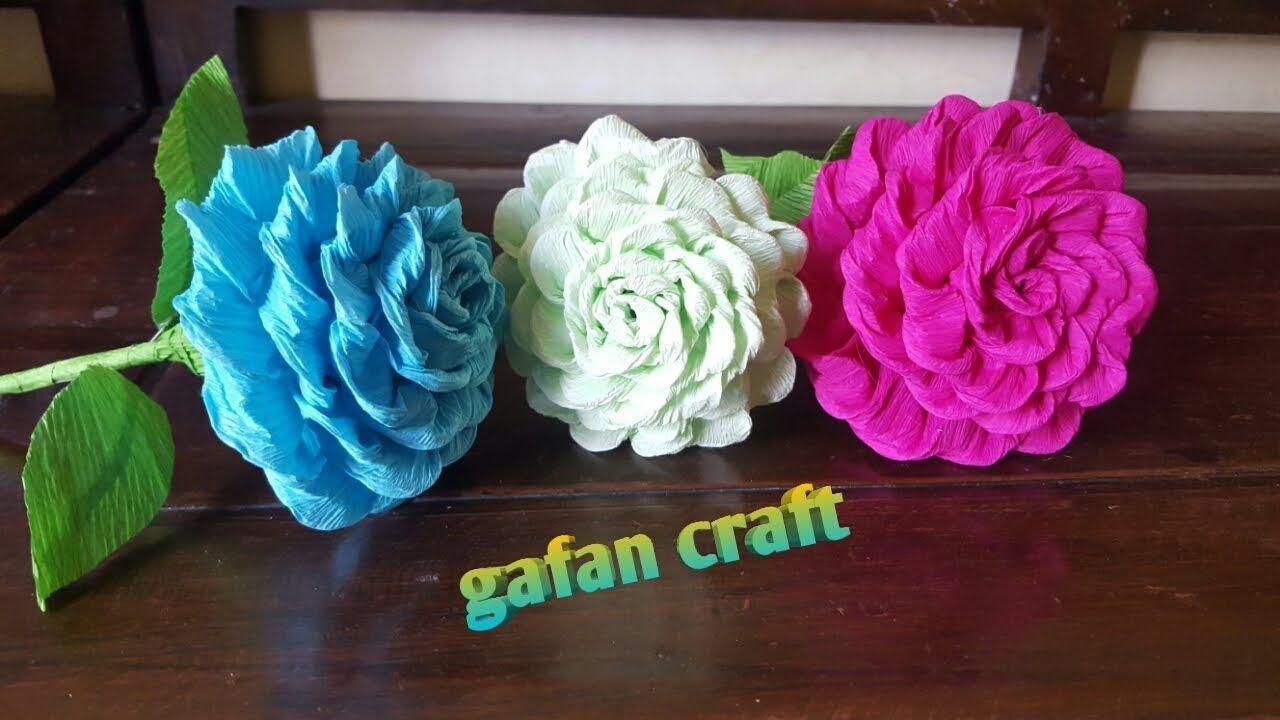 Diy Bunga Dari Kertas Krep Bunga Kertas Mawar Kertas Ide Kerajinan