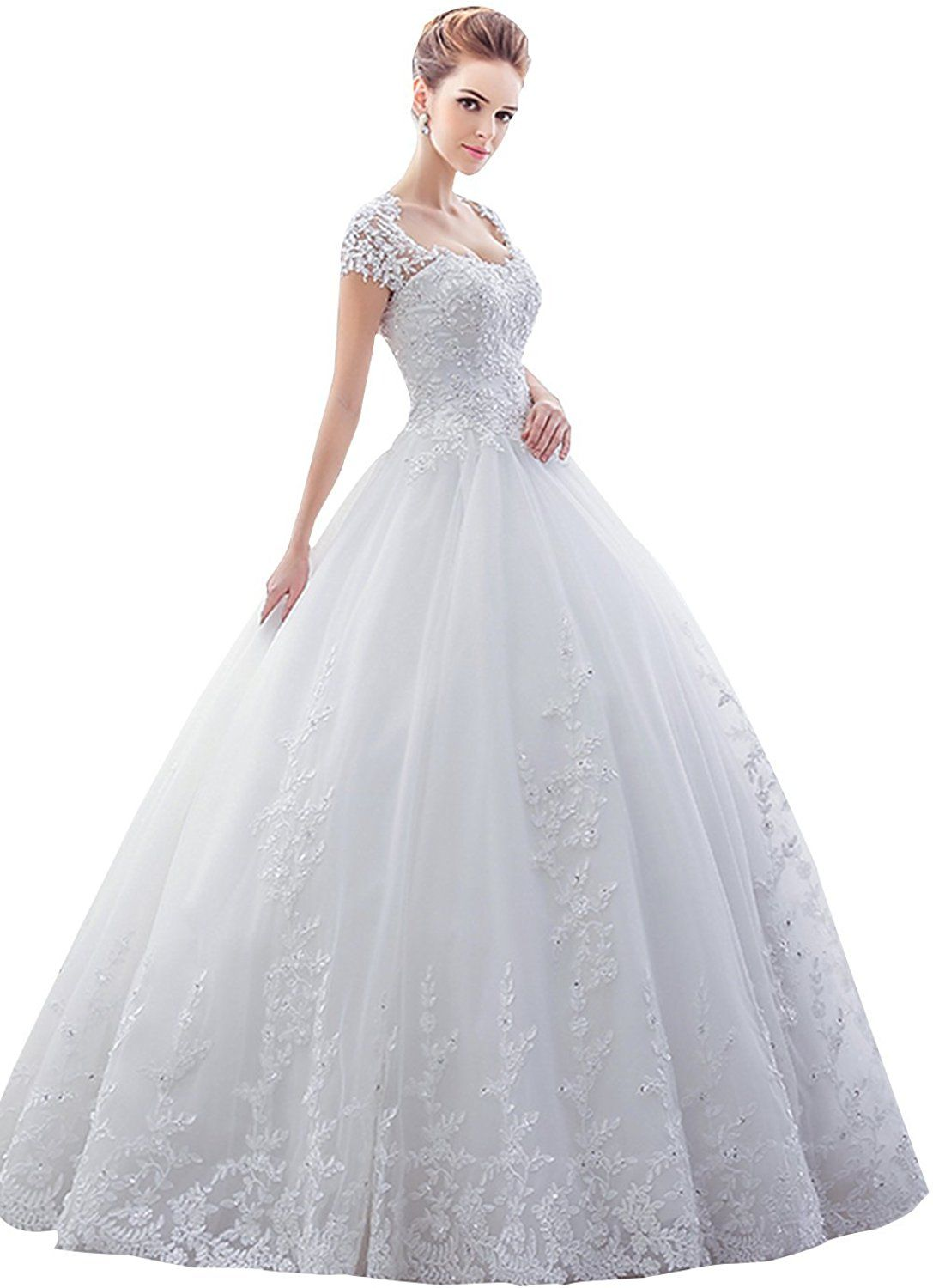 Wedding dresses ball gown lace  Sisjuly Womenus Lace Sweetheart Short Sleeve Ball Gown Wedding Dress