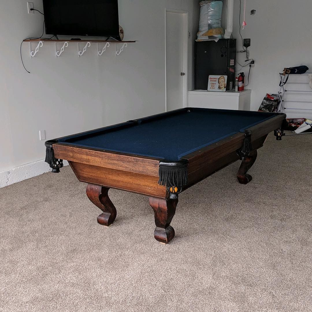Finished Installing This 8 Foot One Piece Slate American Classic Pool Table In Huntington Beach California The Car Two Ca Pool Table Pool Table Slate Blue Pool
