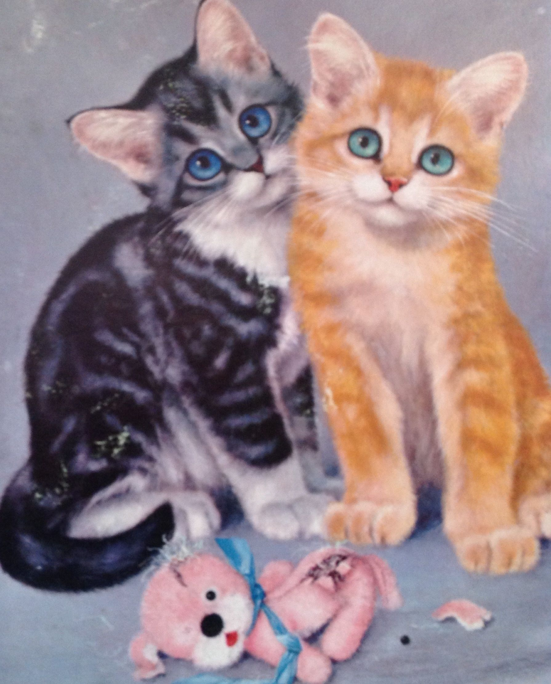 two little kittens looking guilty vintage print found at salvation army