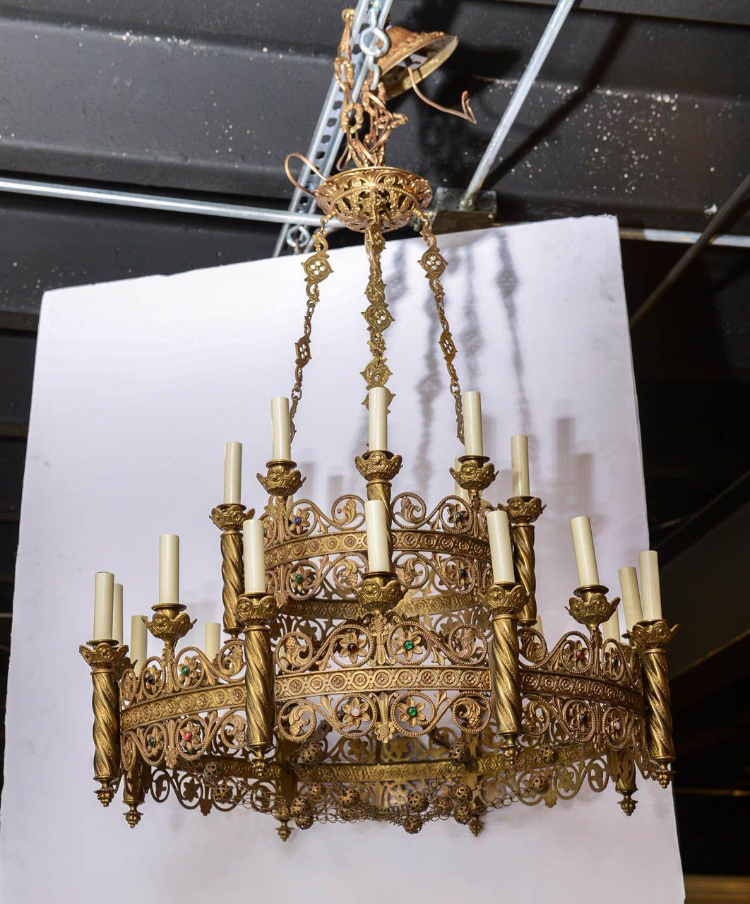 Moorish bronze chandelier studded with colored stones modern