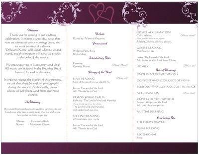 Wording For Wedding Program Traditional Catholic Mass