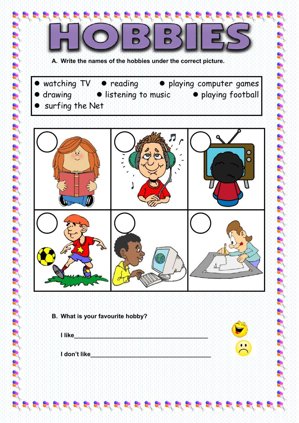 Hobbies interactive and downloadable worksheet. You can do
