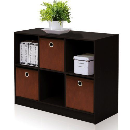 Bookcase Storage with Bins Sofa Storage Furniture Drawer Case Book ...