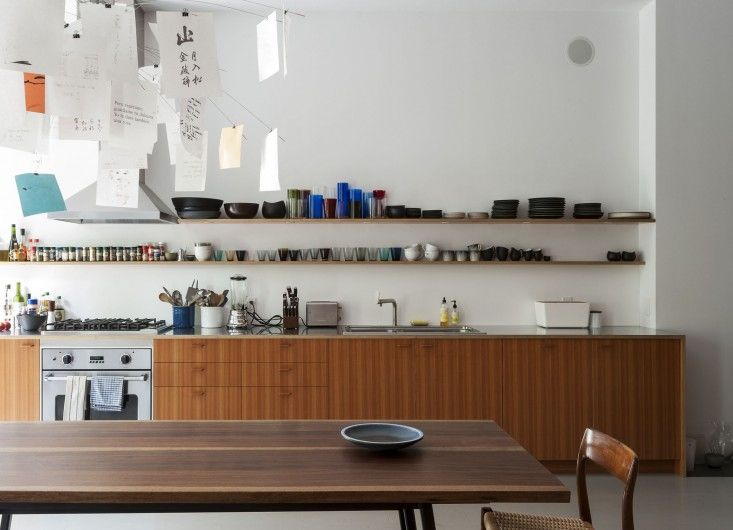 Shelves, wooden table, thin stainless steal work top