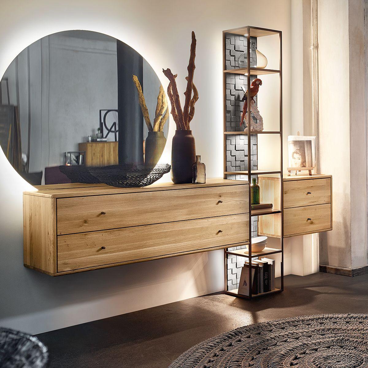 Eine Gelungene Kombination Aus Massivholz Metall Glas Und Einem Effektvollen Spiegel Perfekt Fur Dein Wohnzi Wohnzimmer Ideen Wohnung Wohnen Wohnzimmermobel