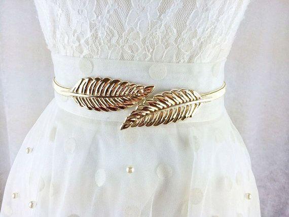 Womens Ladies Gold or Silver Leaves Metal Belt Elastic Skinny Slim Waist Band