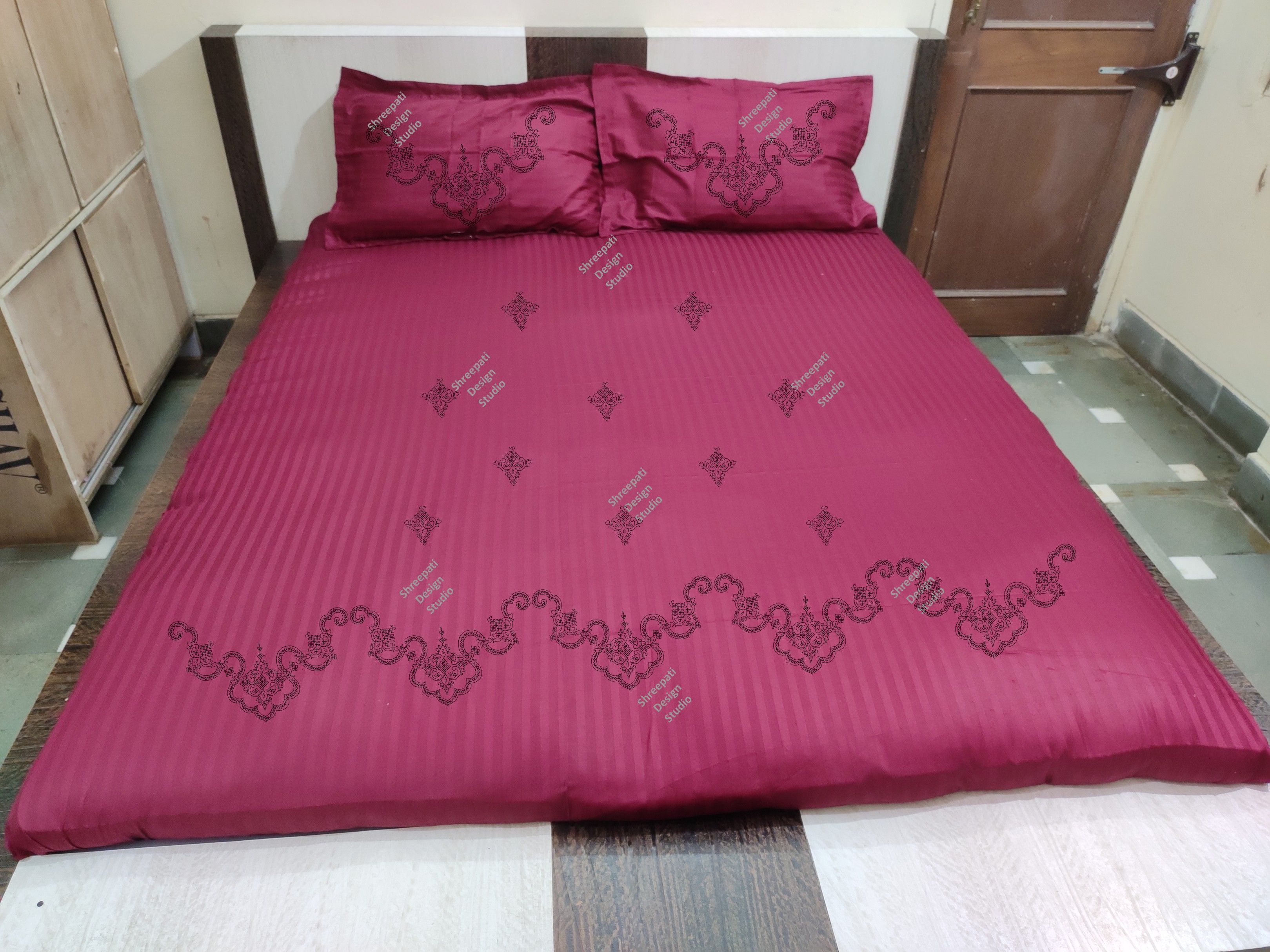 Kutch Work Embroidery Design Traced Bed Sheet Kit With Thread